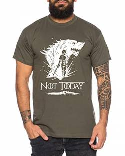 Not Today II - Herren T-Shirt Targaryen Thrones Game of stark Lannister Baratheon Daenerys Khaleesi tv blu-ray DVD, Größe:M, Farbe:Khaki von Sambosa