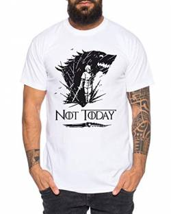 Not Today II - Herren T-Shirt Targaryen Thrones Game of stark Lannister Baratheon Daenerys Khaleesi tv blu-ray DVD, Größe:M, Farbe:Weiß von Sambosa