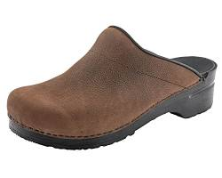 Sanita Herren Karl Textured Oil Open Clogs, Braun (Antique Brown 78), 43 EU von Sanita