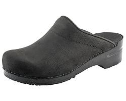 Sanita Herren Karl Textured oil open Clogs, Schwarz (Black 2), 43 EU von Sanita