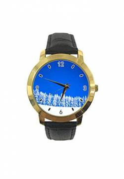 The Snow is as White As The Blue Sky Personalisierte Fashion Classic Analog Quarz Armbanduhr Leder Gürtel Uhr für Männer Frauen von Saransk
