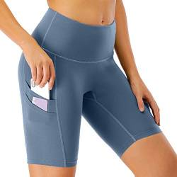 Scicent Damen Kurze Leggins Running Shorts Sporthose Laufhose Sport Leggings Yogahosen Sportbekleidung mit Taschen für Sport Laufen Yoga XL von Scicent