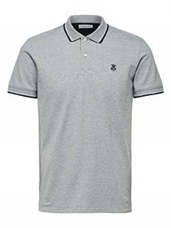 Selected Homme NOS Herren SLHNEWSEASON SS Polo W NOOS Polohemd, Medium Grey Melange, XL von Selected Homme NOS