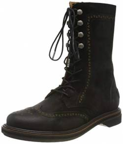 Shabbies Amsterdam Damen SHS0724 Ankle Boot LACE UP and Zipper 2.5 cm Waxed Nubuck, Black, 36 EU von Shabbies Amsterdam
