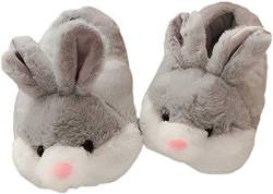 Cartoon Animal Rabbit Shoes Home warm Shoes neutral Soft Plush Home Slippers Rabbit Shoes (Gray) von Shi xiaoshu