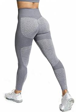 ShinyStar Damen Sport Leggings Nahtlos Elastische Kompressions Yoga Fitnesshose mit Hohe Taille für Workout Gym Joggen Trainings Grau L von ShinyStar