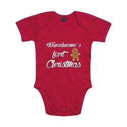 Shirt-Panda Baby Body First Christmas mit Wunschname Winter Rot 3-6 Monate von Shirt-Panda