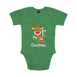 Shirt-Panda Baby Body My 1st Christmas Winter Weihnachten Grün 6-12 Monate von Shirt-Panda