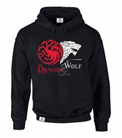 Game of Thrones - The Dragon & The Wolf - Targaryen & Stark - GoT Herren Hoodie - von Shirt Department, L, schwarz-Weiss von shirtdepartment