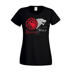Game of Thrones - The Dragon & The Wolf - Targaryen & Stark - GoT Damen T-Shirt - von Shirt Department, schwarz-Silber, M von shirtdepartment