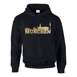Shirt Department - Herren Hoodie - München Skyline schwarz-Gold 5XL von shirtdepartment