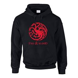 Game of Thrones - Fire & Blood - Targaryen - Herren Hoodie schwarz-rot L von shirtdepartment