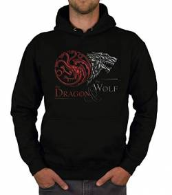shirtdepartment - Game of Thrones - Herren Hoodie - The Dragon and The Wolf Wappen schwarz-dunkelrot S von shirtdepartment