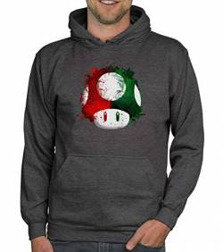 shirtdepartment - Herren Hoodie - Super Mario - Pilz dunkelgrau-rot XL von shirtdepartment