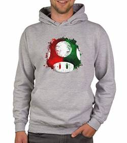 shirtdepartment - Herren Hoodie - Super Mario - Pilz hellgrau-rot 4XL von shirtdepartment