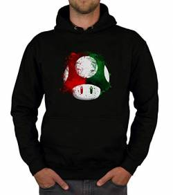 shirtdepartment - Herren Hoodie - Super Mario - Pilz schwarz-rot XL von shirtdepartment