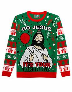 Shirtgeil Ugly Christmas Strickpullover Herren Damen Go Jesus It's Your Birthday Sweater Medium von Shirtgeil