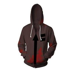 Shuihua - Kapuzenpullover Angels of Death - Isaac · Foster/Zack Cosplay Hoodie, Anime Game 3D Printing Hoodys Zipper-Jacke (Color : Brown, Size : S) von Shuihua - Kapuzenpullover