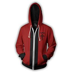 Shuihua - Kapuzenpullover Fullmetal Alchemist Edward Elric Cosplay Hoodie, Anime 3D-Druck Hoody Zipper-Jacke (Color : Red, Size : M) von Shuihua - Kapuzenpullover