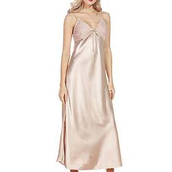 Sidiou Group Damen Satin Nachthemd Negligee Lang Satin Nachtkleid Sexy Lange Nachtkleider Sommer Babydoll Nachtwäsche Sleepwear (Kamel, L) von Sidiou Group