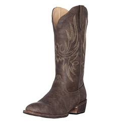 Silver Canyon Boot and Clothing Company Westcowgirl Cowboystiefel | Cimmaron Round Toe für Damen 8.5 M US braun von Silver Canyon Boot and Clothing Company