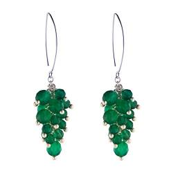 Silverly Frauen .925 Sterling Silber Green Grape Cluster Ohrringe von Silverly