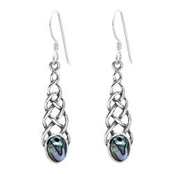Silverly Frauen .925 Sterling Silber Celtic Knot baumeln Ohrringe Abalone von Silverly