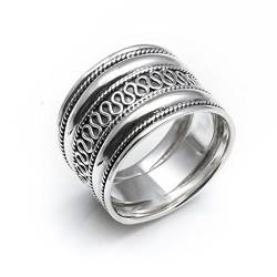Silverly Frauen Männer .925 Sterling Silber Rope Scroll Work Bali Thumb 18mm Ring von Silverly
