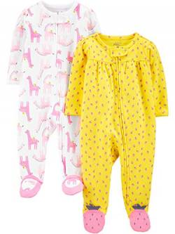 Simple Joys by Carter's 2er-Packung mit Fuß Zum Schlafen und Spielen Infant-and-Toddler-Bodysuit-Footies, Rosa Llamas/Erdbeeren, Preemie von Simple Joys by Carter's