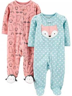 Simple Joys by Carter's 2-Pack 2-Way Zip Fleece Footed Sleep Play Infant-and-Toddler-Bodysuit-Footies, Fuchs/rosa Tier, Preemie von Simple Joys by Carter's