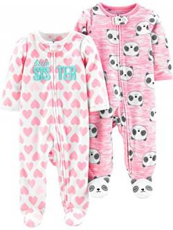 Simple Joys by Carter's 2-Pack 2-Way Zip Fleece Footed Sleep Play Infant-and-Toddler-Bodysuit-Footies, Little Sister/Pink Pandas, US NB (EU 56-62) von Simple Joys by Carter's