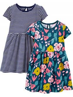 Simple Joys by Carter's 2-Pack Short-Sleeve Sleeveless Sets Infant-and-Toddler-Playwear-Dresses, Blumenmuster, 12 Months, 2er-Pack von Simple Joys by Carter's