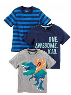 Simple Joys by Carter's 3-Pack Short-Sleeve Graphic Tees Infant-and-Toddler-t-Shirts, Awesome, Streifen, Dino, US 3T (EU 98–104), 3er-Pack von Simple Joys by Carter's