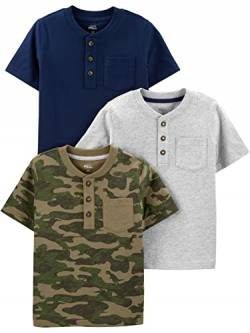 Simple Joys by Carter's 3-Pack Short-Sleeve Pocket Henley Tee Fashion-t-Shirts, Marineblau/Grau meliert/Camo, US 4T (EU 104–110), 3er-Pack von Simple Joys by Carter's