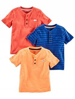 Simple Joys by Carter's 3-Pack Short-Sleeve Pocket Henley Tee Fashion-t-Shirts, Orange, Blau, Rot, US 2T (EU 92-98), 3er-Pack von Simple Joys by Carter's