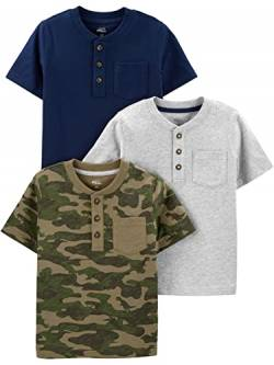 Simple Joys by Carter's 3-Pack Short-Sleeve Pocket Henley Tee Infant-and-Toddler-t-Shirts, Marineblau/Grau meliert/Camo, 18 Months, 3er-Pack von Simple Joys by Carter's