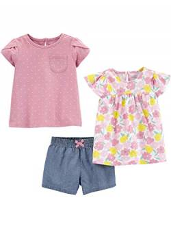 Simple Joys by Carter's 3-Piece Short-Sleeve Dress, Top, Playwear Infant-and-Toddler-Pants-Clothing-Sets, Blumenmuster, US 4T (EU 104–110), 3er-Pack von Simple Joys by Carter's
