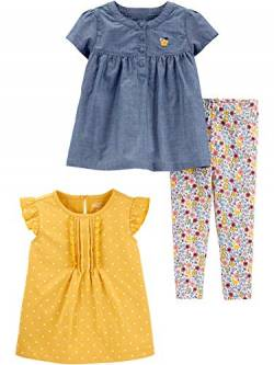 Simple Joys by Carter's 3-Piece Short-Sleeve Dress, Top, Playwear Infant-and-Toddler-Pants-Clothing-Sets, Chambray/Polka Dots, 12 Months, 3er-Pack von Simple Joys by Carter's