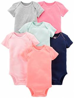 Simple Joys by Carter's 6-Pack Short-Sleeve infant-and-toddler-bodysuits, Einfarbig, 0-3 Months, 6er von Simple Joys by Carter's