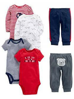 Simple Joys by Carter's Baby 6-teiliges Set (kurz- und langärmelig) und Hosen ,Red/Navy Bear ,Preemie von Simple Joys by Carter's