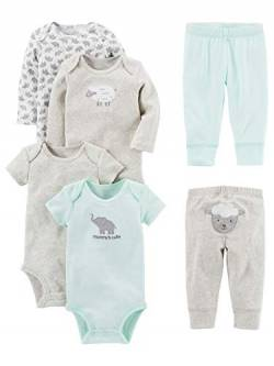 Simple Joys by Carter's Baby-Body, 6-teilig, kurze und lange Ärmel ,Gray Lamb ,US NB (EU 56-62) von Simple Joys by Carter's