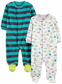 Simple Joys by Carter's Baby Jungen 2er-Pack Fleece mit Füßen Schlafen und Spielen ,Animal/Stripe ,Preemie von Simple Joys by Carter's