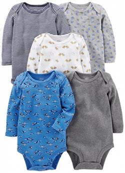Simple Joys by Carter's Baby Jungen Langarm-Body 5er Pack ,Blau / Grau ,Newborn von Simple Joys by Carter's
