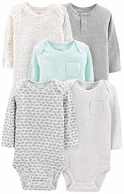Simple Joys by Carter's Baby Langarm-Body, 5er-Pack ,Grey/Blue Stripe ,Preemie von Simple Joys by Carter's