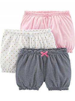 Simple Joys by Carter's Baby Mädchen 3er-Pack Bloomer Shorts ,White/Dot/Pink ,US NB (EU 56-62) von Simple Joys by Carter's