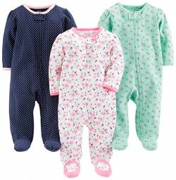Simple Joys by Carter's Baby Mädchen 3er-Pack Sleep and Play ,Pink Floral, Blue Floral, Navy Dot ,Preemie von Simple Joys by Carter's