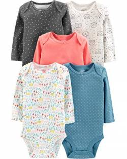 Simple Joys by Carter's Baby Mädchen 5er Pack Langarm Body ,Dots/Owl/Print ,0-3 Months von Simple Joys by Carter's
