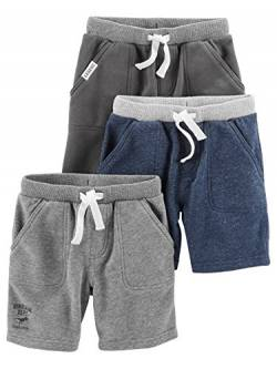 Simple Joys by Carter's Baby und Kleinkind Jungen 3er-Pack Strick Shorts ,Navy Heather, Charcoal Heather, Gray ,6-9 Months von Simple Joys by Carter's