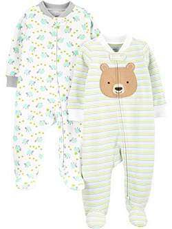 Simple Joys by Carter's Neutral 2-Pack Cotton Footed Sleep Play Infant-and-Toddler-Bodysuit-Footies, Bär/Schildkröte, Preemie von Simple Joys by Carter's