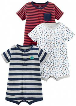 Simple Joys by Carter's Strampler für Jungen, 3 Stück ,Red Stripe/White Sailboats/Navy Stripe ,6-9 Months von Simple Joys by Carter's
